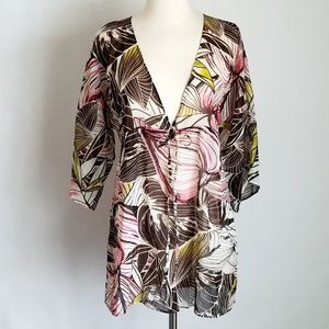 NWT- NY&C Tropical Leaf Sheer Swim Cover-Up Tunic